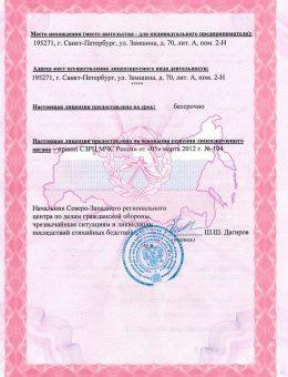 Лицензия на монтаж (обратная сторона)